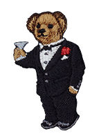 Embroidered male Polo Bear wearing black tuxedo & holding martini glass