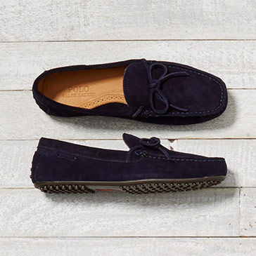 Pair of navy suede drivers