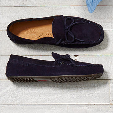 Pair of navy suede loafers