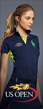 US Open logo & image of woman wearing navy polo shirt