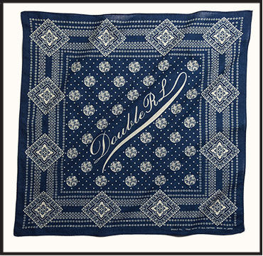 Blue square bandanna with vintage-style gold text