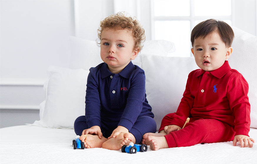 Two babies wear coveralls with Polo collars & long sleeves