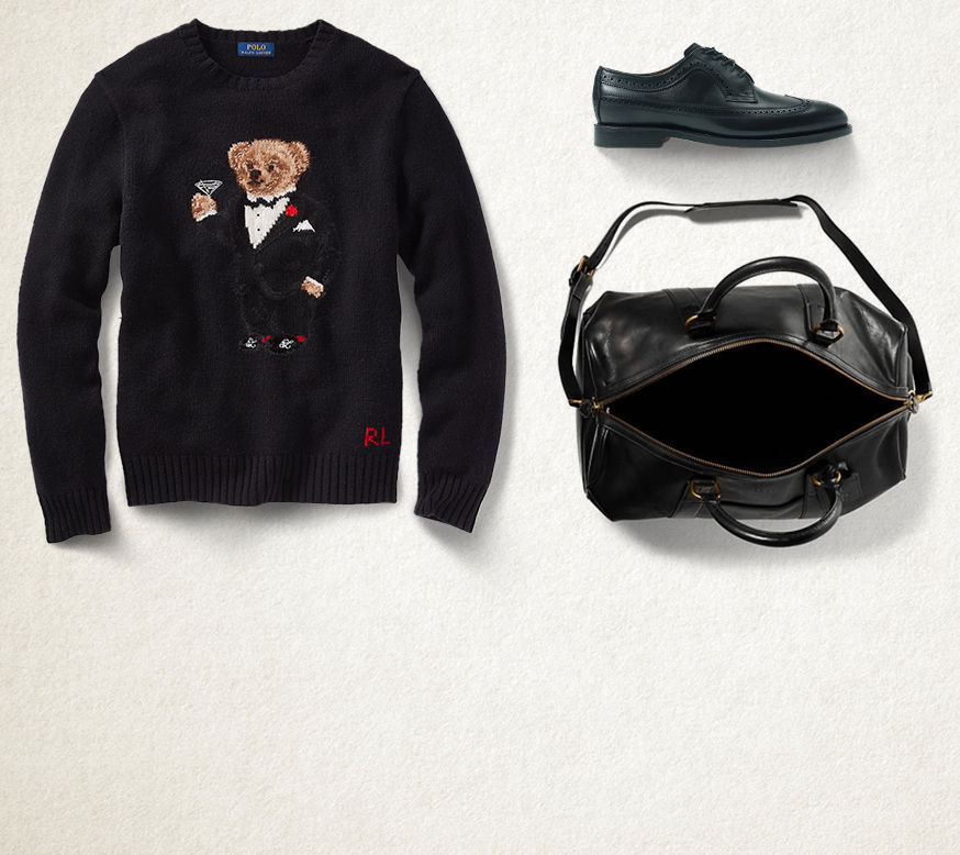 Black Polo bear sweater, black leather loafer & black leather duffel bag