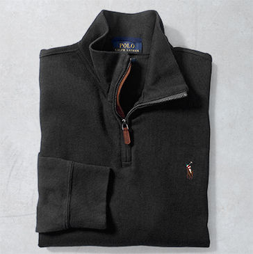 Black half-zip sweater with multicolored signature embroidered pony at chest